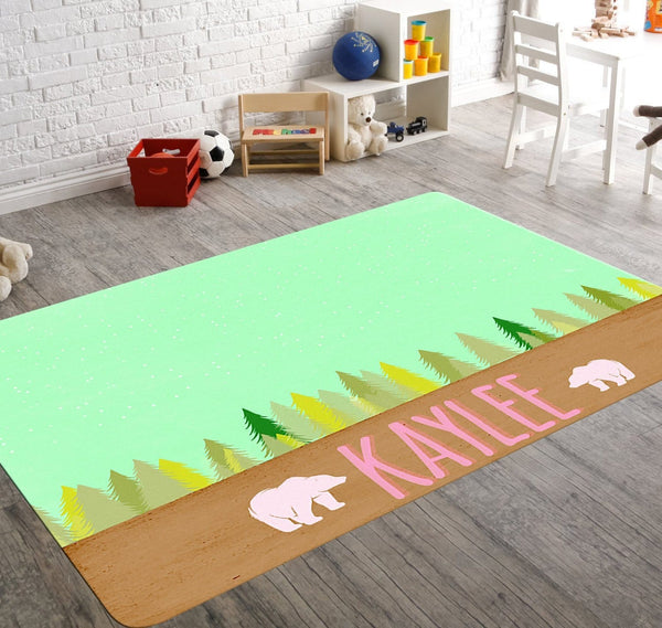 Personalized Bear Rug Mint Starry Sky With Bright Green Trees and Two Bears Around Pink Custom Name. Perfect for camping themed nursery.