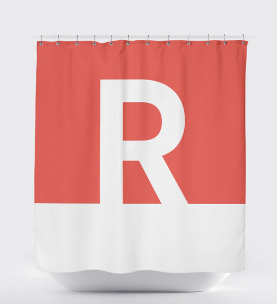 Shower Curtain Monogram, Custom Shower Curtain, Red Shower Curtain, Monogram Shower