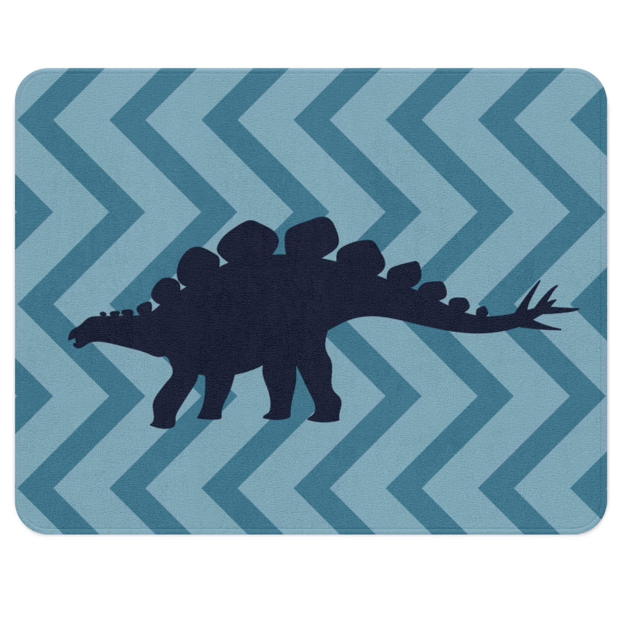 Dinosaur Rug Blue Chevron Background with Stegosaurus on it, Soft Plush Classroom Rug