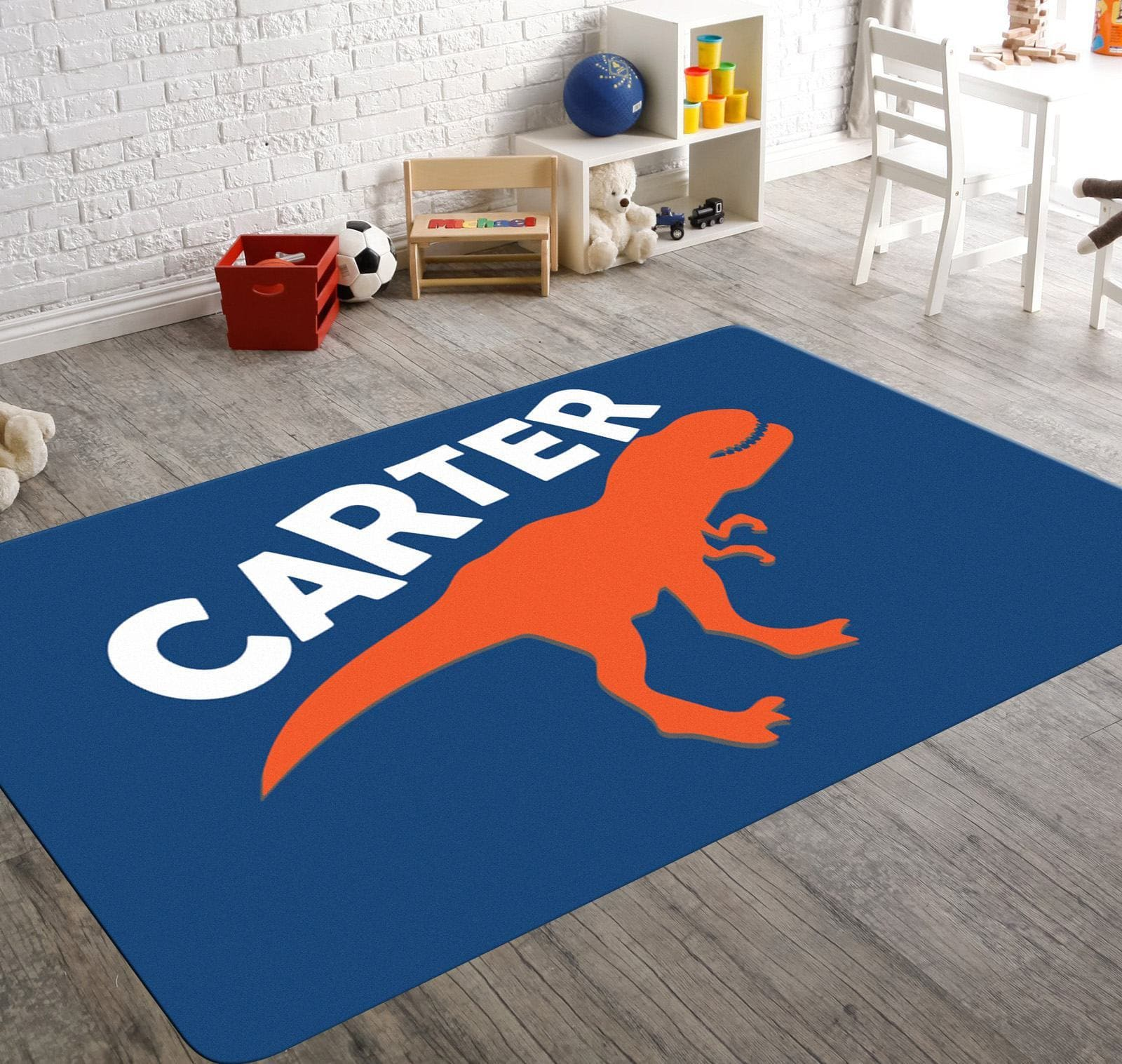 A blue customized rug with an orange dino silhouette screaming your child's name, will add that jurassic element to your boy's playroom or bedroom. Let the contrasting color scheme of this rug add another dimension to your child's playroom or bedroom decor.