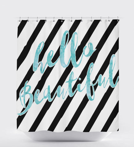 Striped Shower Curtain, Hello Beautiful, Shower Curtain Black And White, Pattern Shower Curtain