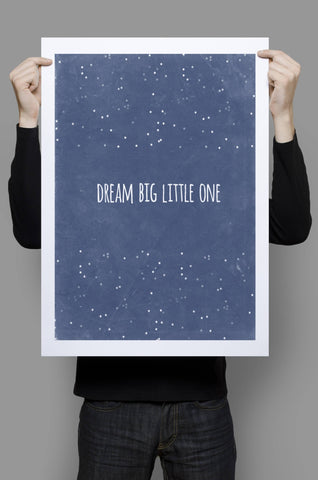 Dream Big Little One Print, Baby Room Decor, Pink Canvas Art, Inspirational Quote Print, Kids Wall Art, Playroom Decor, Star Nursery Decor