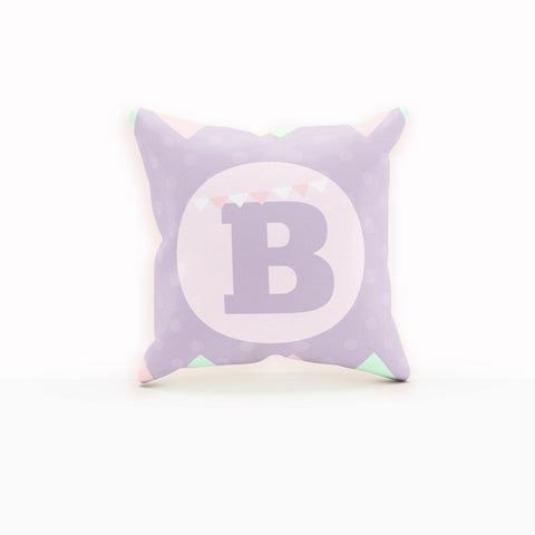Throw Pillows Purple, Monogram Pillow, Bunting, Colorful Pillow Cover
