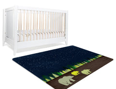 Three Bears Rug- Starry sky with a family of three bears on the ground. Great for Nurseries or Kids Rooms or Classroom Decor.
