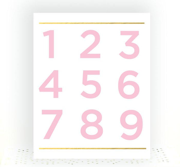 Number Print, Baby Girl Gift, Pink And Gold Nursery Decor, Typography Print, Number Wall Art, Baby Shower Gift, New Mom Gift, Playroom Decor