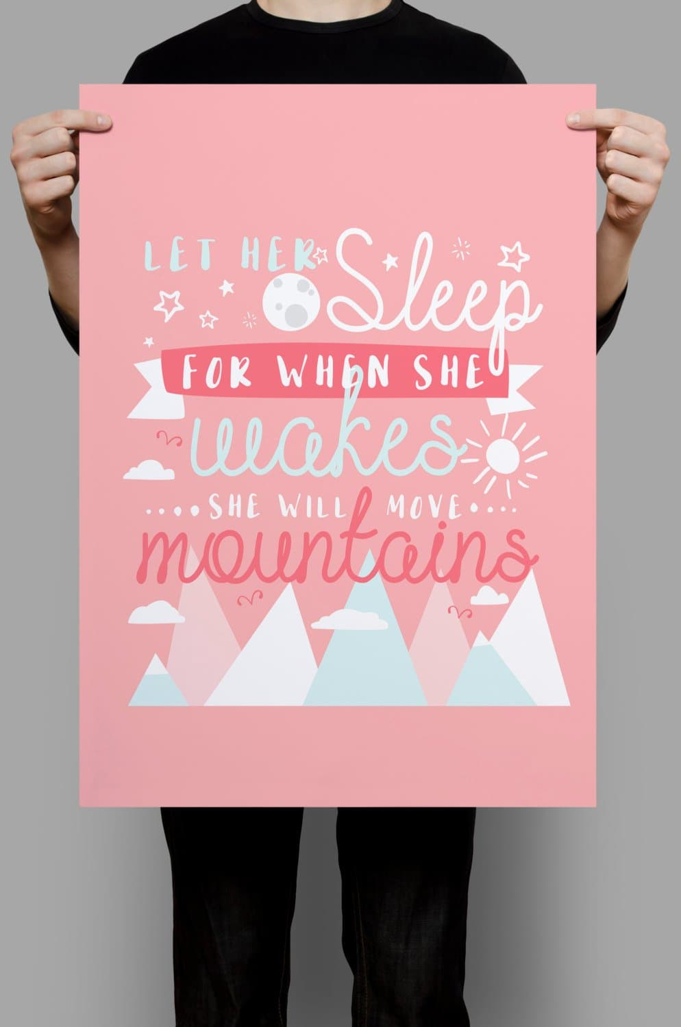 Let Her Sleep for When She Wakes, Art Prints, Wall Prints, Nursery Wall Art, Girl Room Decorations, Girl Nursery Decor, Pink Print, Pink Art