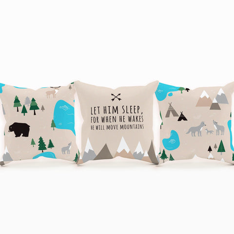 Woodland Nursery Pillow, Nature Lover Gift, Baby Shower Gift, Camper Baby
