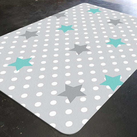 Star Rug, Grey Rug, Polka Dots, Star Nursery