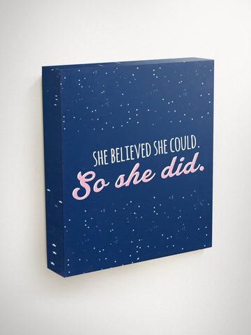 She Believed She Could So She Did Wall Art, Graduation Gift For Her, Star Wall Hanging, Congratulations Gift, Motivational Canvas, Wall Art