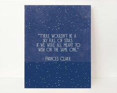 Star Wall Art- Inspirational Quote- Galaxy Art- Quote Prints- Quote Art Print- Sky Full Of Stars- Midnight blue- Dorm Room Decor- Classroom