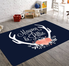 Deer antler rug in available in blush and navy colours with a bouquet of roses, match this customizable monogram rug to your baby girl's nursey decor.