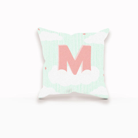Monogram Decorative Pillow, Cloud Pillow, Cloud Nursery Art, Custom Nursery Decor