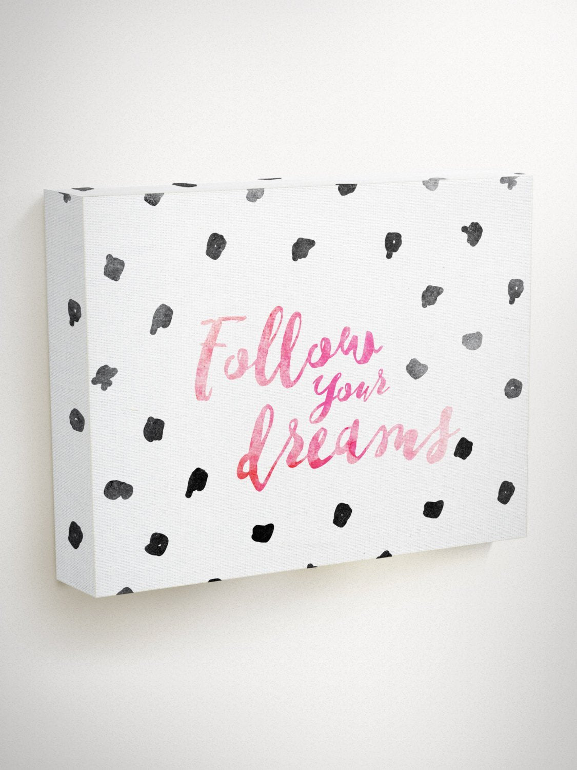 Follow Your Dreams, Black And White Canvas Wall Art, Inspirational Quotes For Kids, Red Canvas Art, Kids Canvas Wall Art, Hanging Canvas