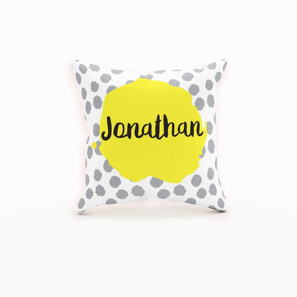 Personalized Throw Pillow, Yellow And Grey, Dots, Cushion Cover