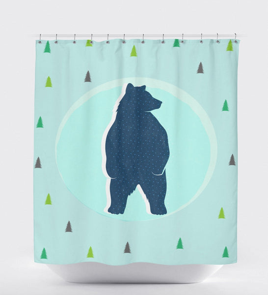 Bear Shower Curtain, Woodland Decor, Kids Shower Curtain, Teal Shower Curtain