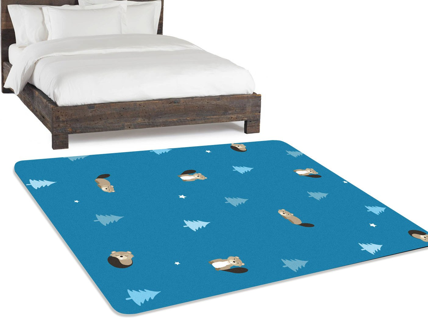 Animal Nursery Rug, navy blue background with beavers and pine trees on it.