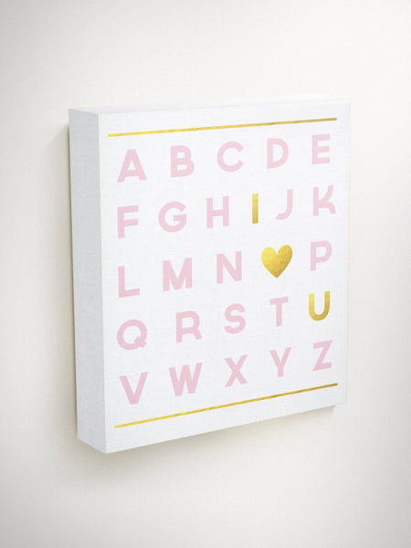 Alphabet Canvas, New Baby Gift, Alphabet Nursery Art, Expecting Mom Gift, Baby Shower Gift, Nursery Wall Art, Pink and Gold Nursery Decor