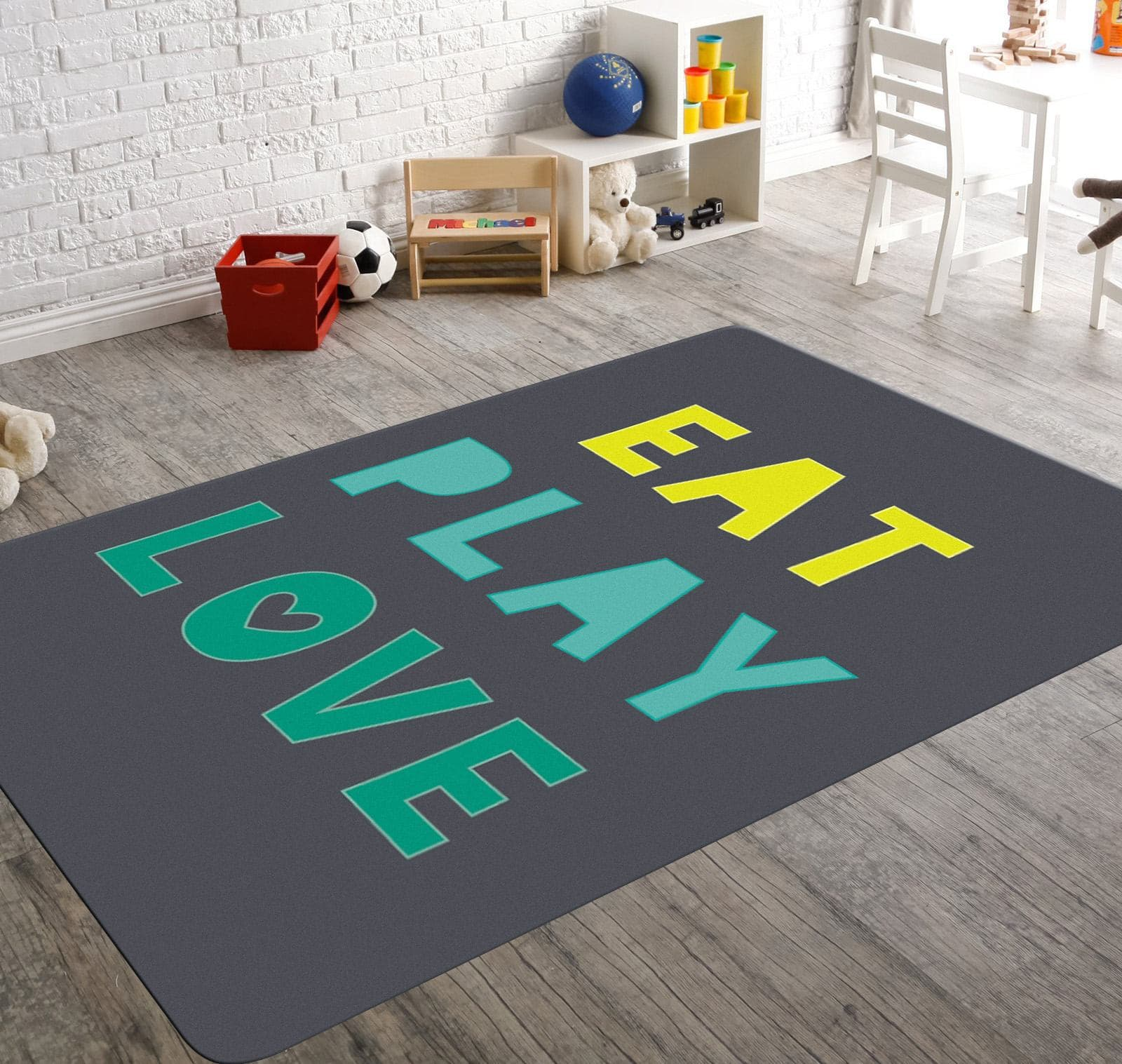 Image of: Eat Play Love Kids Room Rugs Playroom Rug Kitchen Rug Child Be Wild