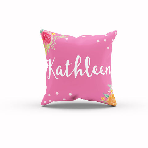 Personalized Throw Pillow, Floral Throw Pillows, Pink Throw Pillow, Gift For Daughter