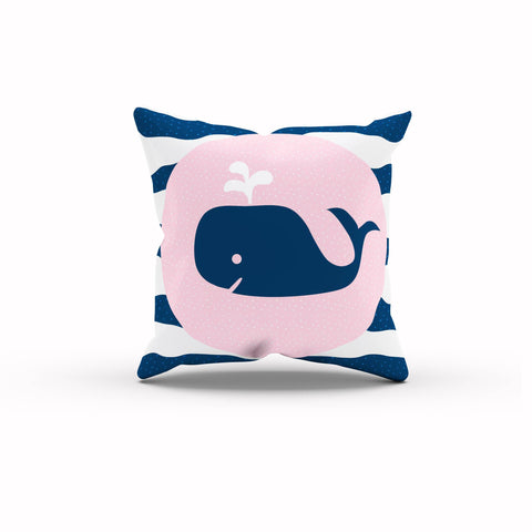 Whale Pillow, Nautical Nursery, Beach Nursery, Kids Throw Pillow