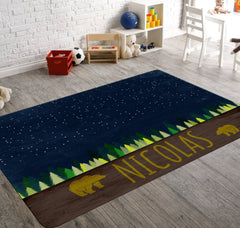 Personalized Bear Rug, Blue Starry Sky With Bright Green Trees and Two Bears Around Custom Name