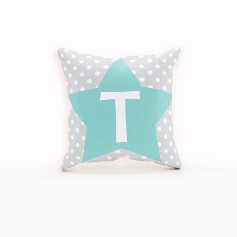 Teal Pillow, Star Pillow, Kids Monogram, Teal Baby Shower