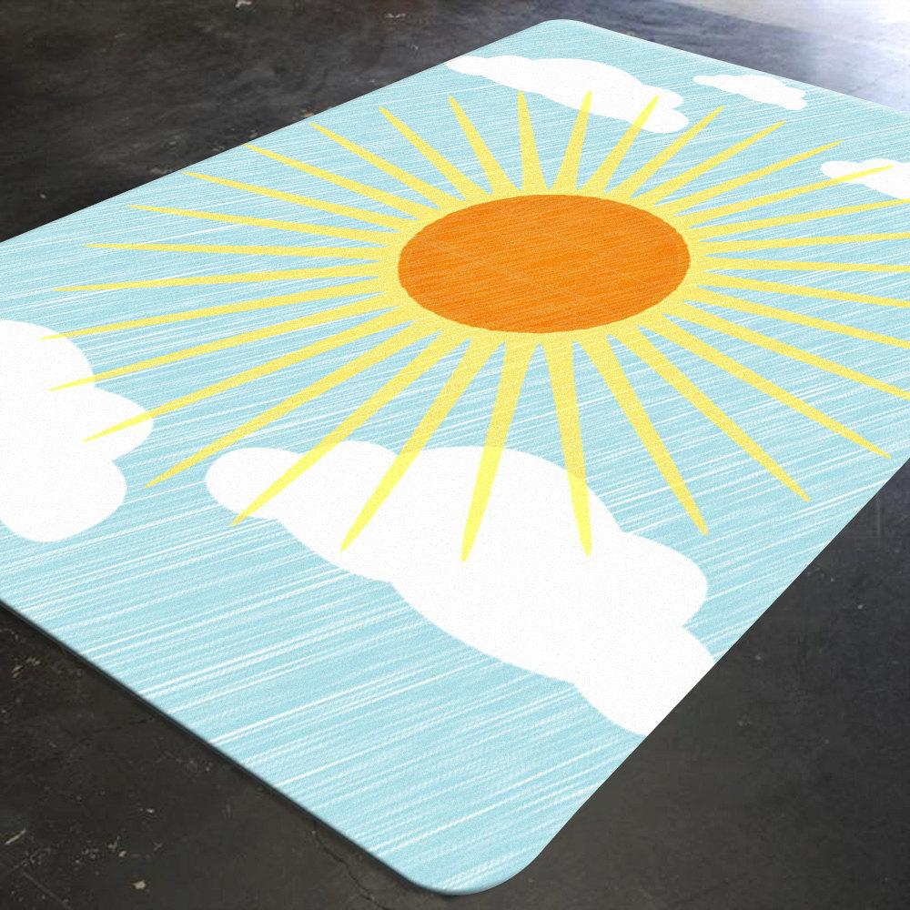 Sun Rug, Cloud Nursery Decor, Baby Floor Mat, Nursery Rug