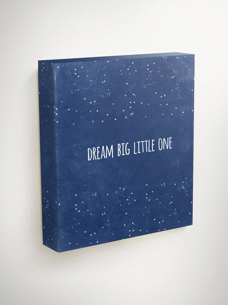 Dream Big Little One, Inspirational Quote Canvas, Gender Neutral Baby Gift, Baby Shower Gift, Kids Wall Art, Moon and Stars Nursery, Galaxy