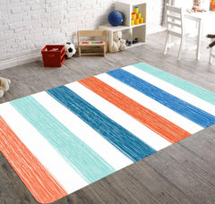 A rectangular accent rug with vertical strips of mint, blue, orange and white colors which appear to be scribbled. This rug is versatile and perfect for a girl's playroom or your baby's nursery.