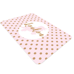 Monogram rugs. Pink and gold nursery rug decor with personalized name in the center. Rectangular pink rug with gold polka dots. Nursery rug for baby girls.