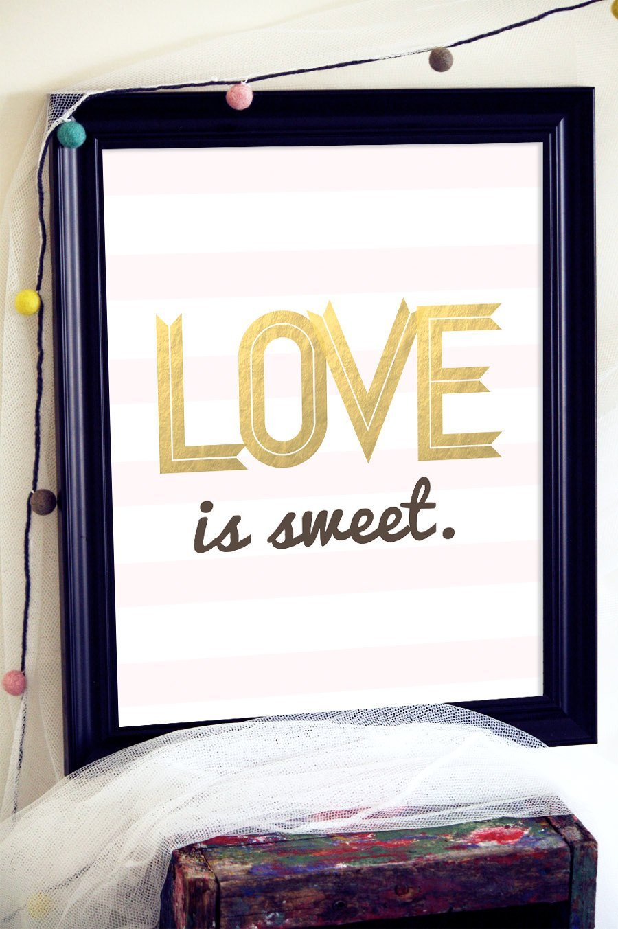 Gold Love Sign, Love Quote Print, Love is Sweet Sign, Gold Wedding Favors, Dessert Table Decor, Wedding Centerpiece, Baker Gift, Gold Decor