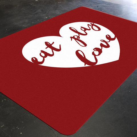 Kids Rug, Playroom Rug, Happy Quotes, Red Rug