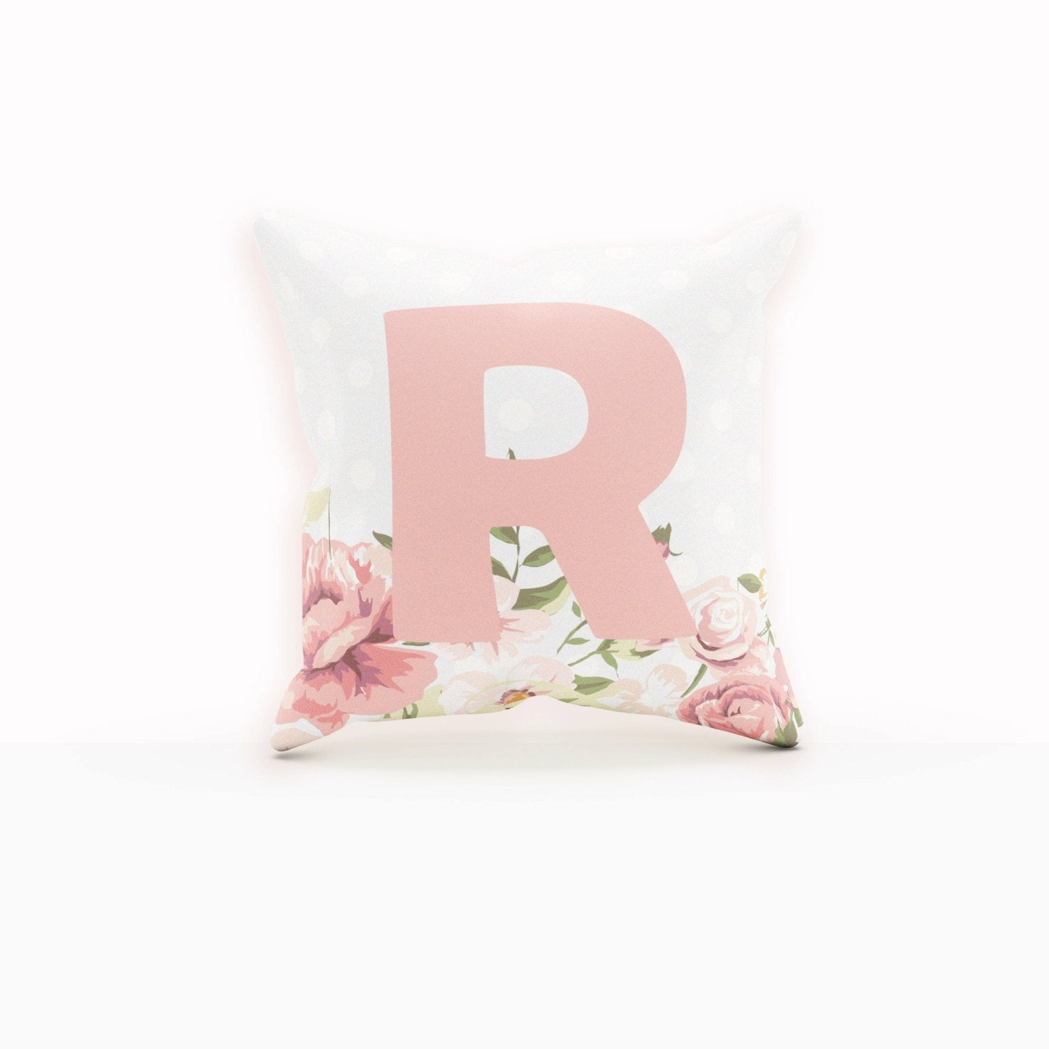 Floral Pillow Cases, Monogram Pillow, Floral Pillow Cover, Throw Pillows Pink