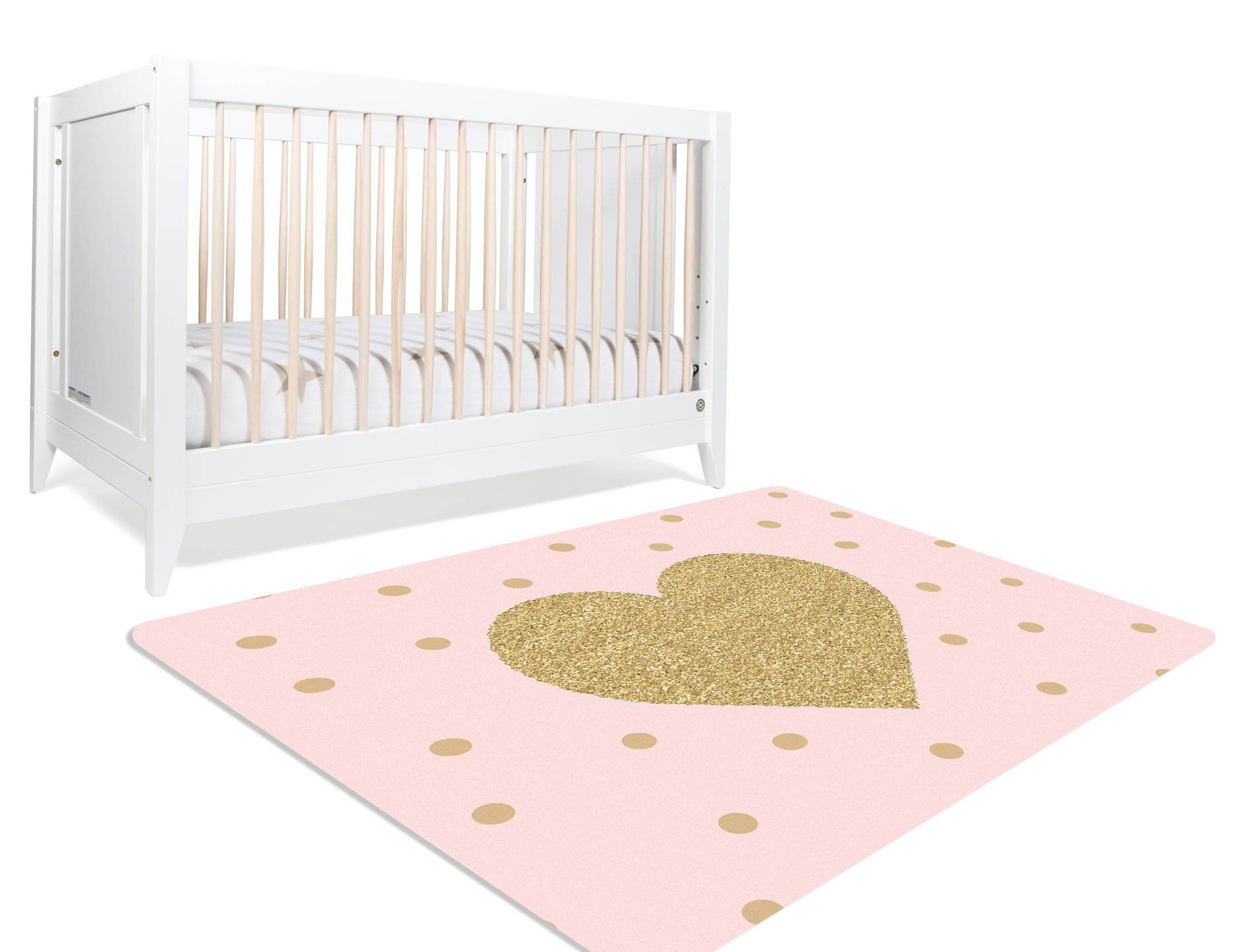 Image of: Aurora Pink And Gold Nursery Rug Child Be Wild