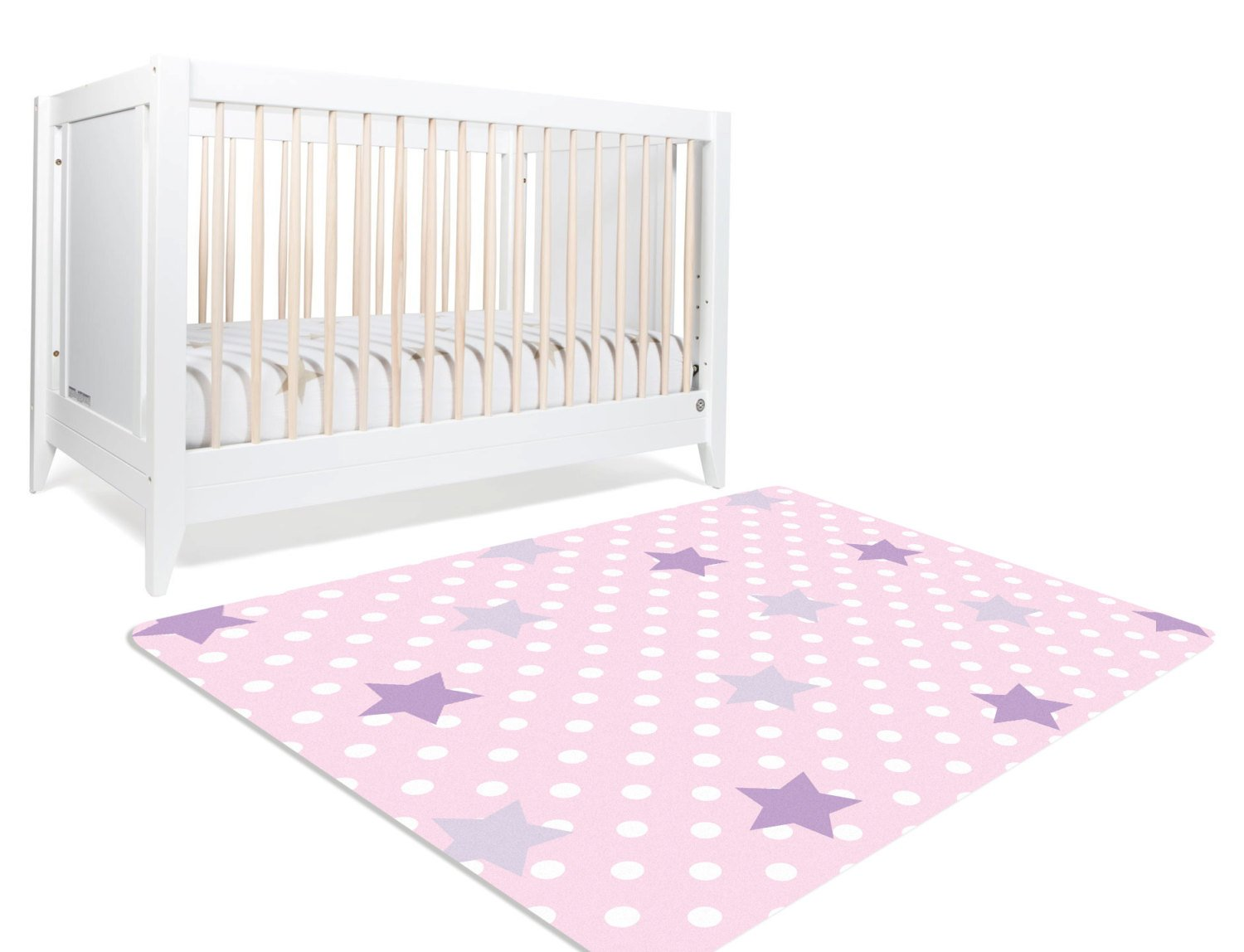Nursery Floor Rug - Polka Dot Rug - Girls Room Decor - Pink Rug - Rugs For Nursery - Nursery Star - Kids Room Rugs- Star Rug- Playroom Decor