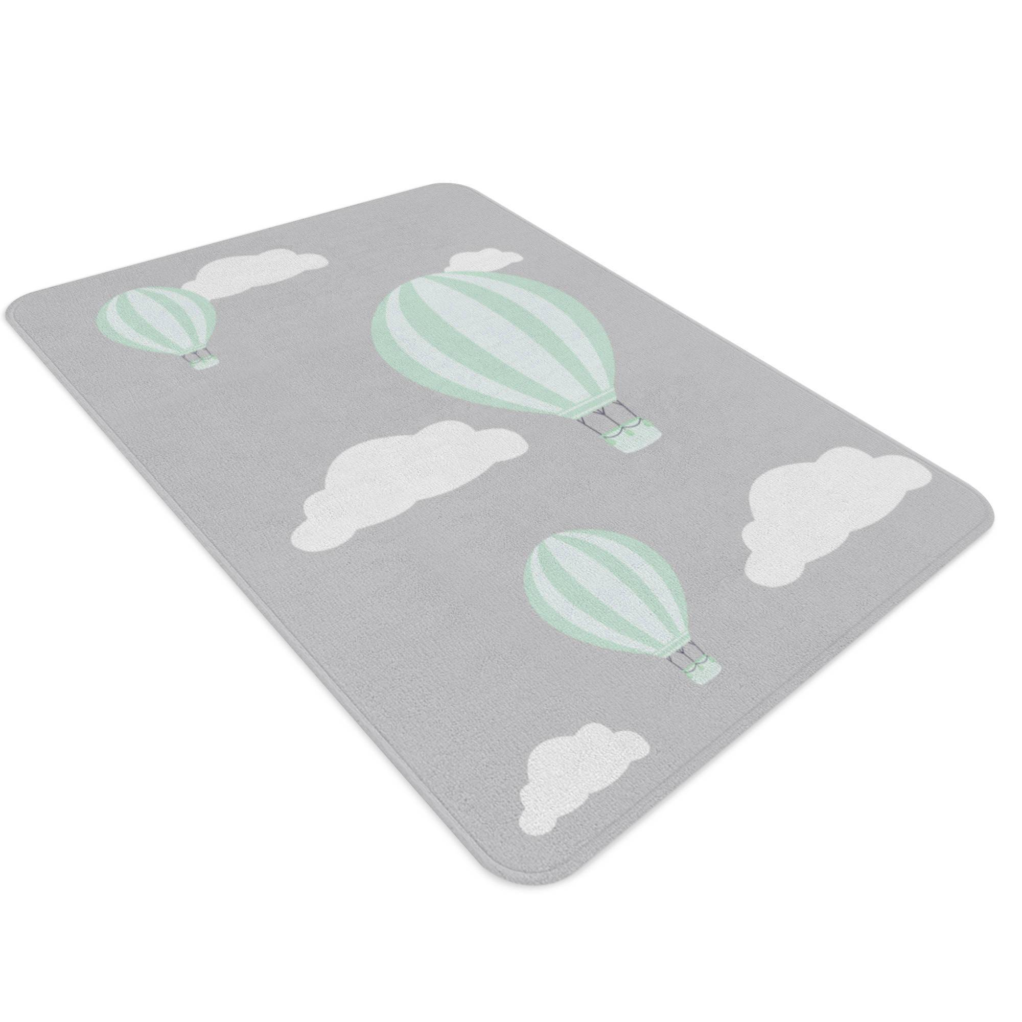 Hot Air Balloon Nursery, Cloud Rug, Grey Nursery Decor, Kids Rug