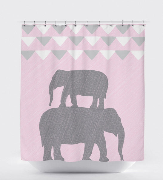 Shower Curtain Elephant, Bunting, Shower Curtain Pink, Shower Curtain Grey