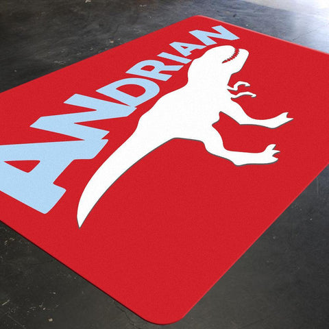 A red customized rug with a dino silhouette screaming your child's name, will add that jurassic element to your child's playroom or bedroom. Let the contrasting color scheme add another dimension to your boy's playroom or bedroom.
