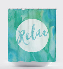 Watercolor Shower Curtain, Relax, Peace,Modern Shower Curtain. Shower Art