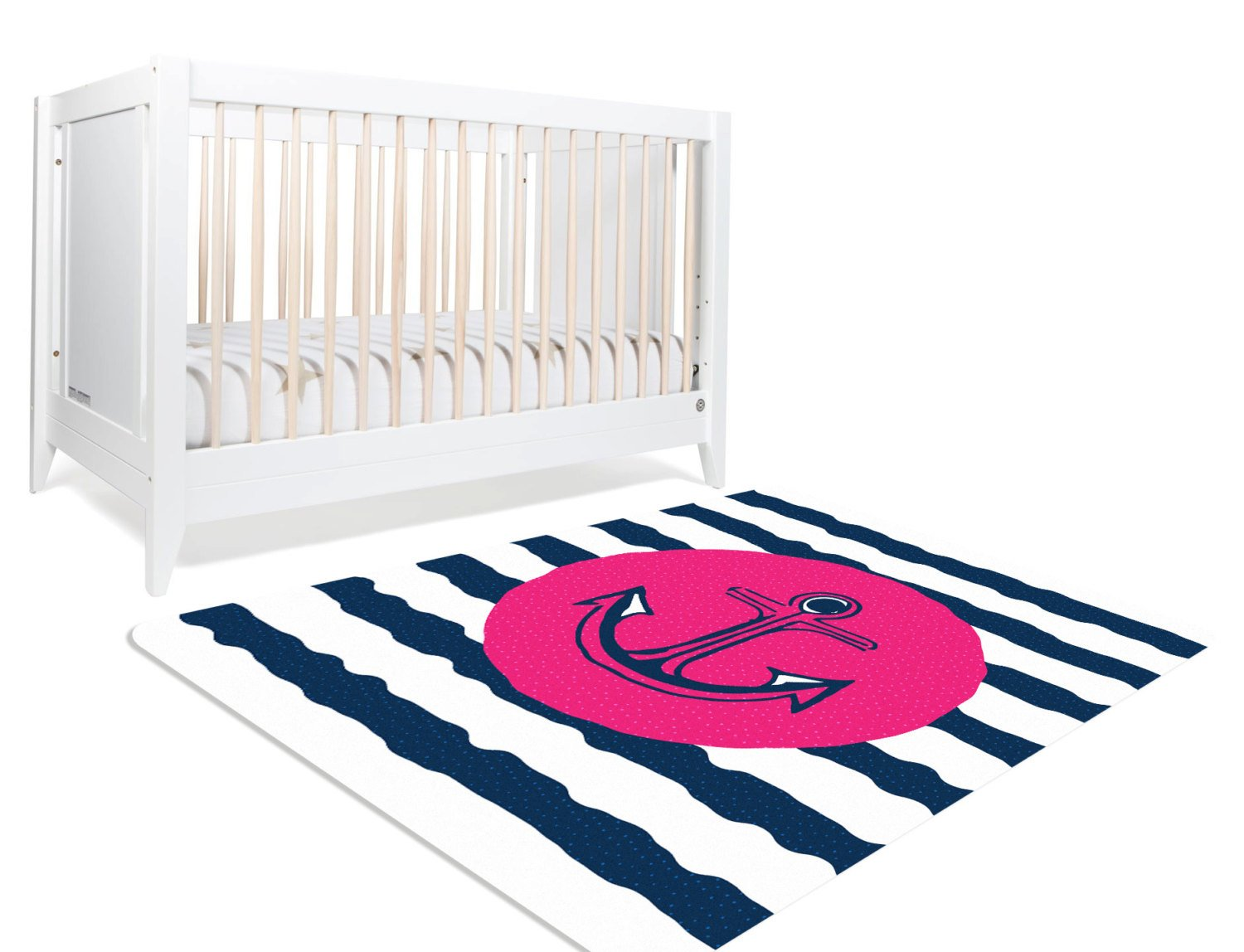 Drift Away- Nautical Rug, Pink and Navy Nautical, Pink and Navy Nursery, Nautical Nursery Decor