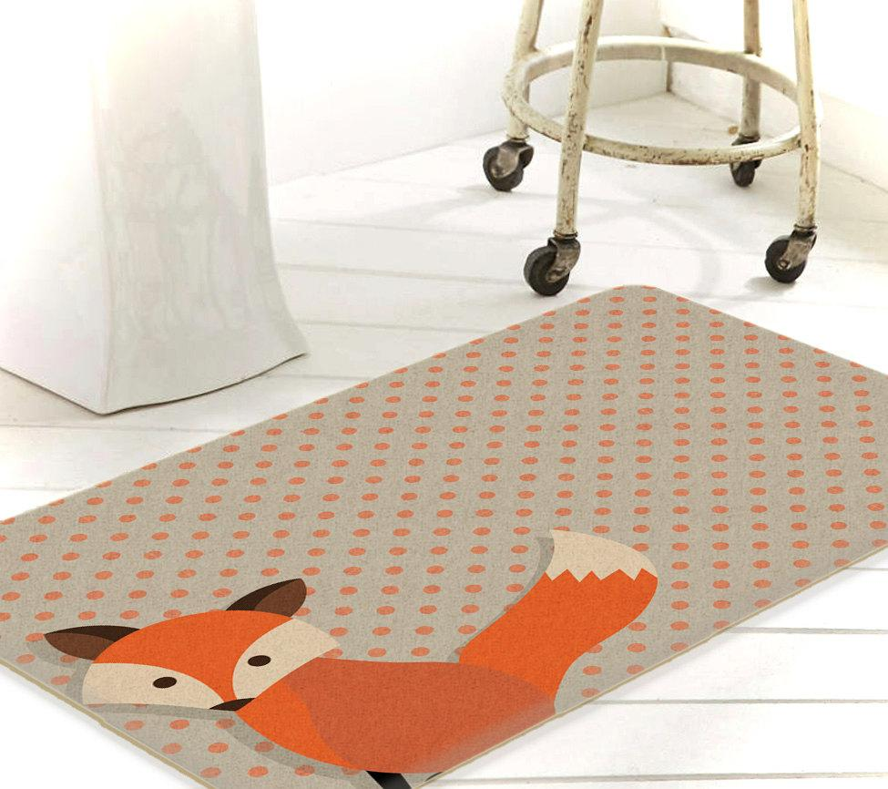 Fox Decor, Fox Rug, Kids Bathroom Decor, Bath Mat