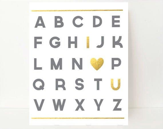 Nursery Alphabet, Nursery Letters, Alphabet Wall Art, Alphabet Print, Gold Nursery Letters, Gold Nursery Art, Gray Nursery Decor,Boy Nursery