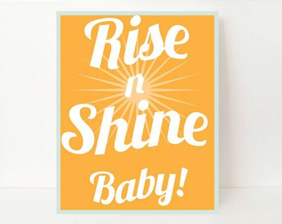 Rise And Shine Sign, Munchkin, Motivational Print, Inspirational Prints, Retro Prints, Little Boy Gifts, Gift For Godson, Baby Shower Gift