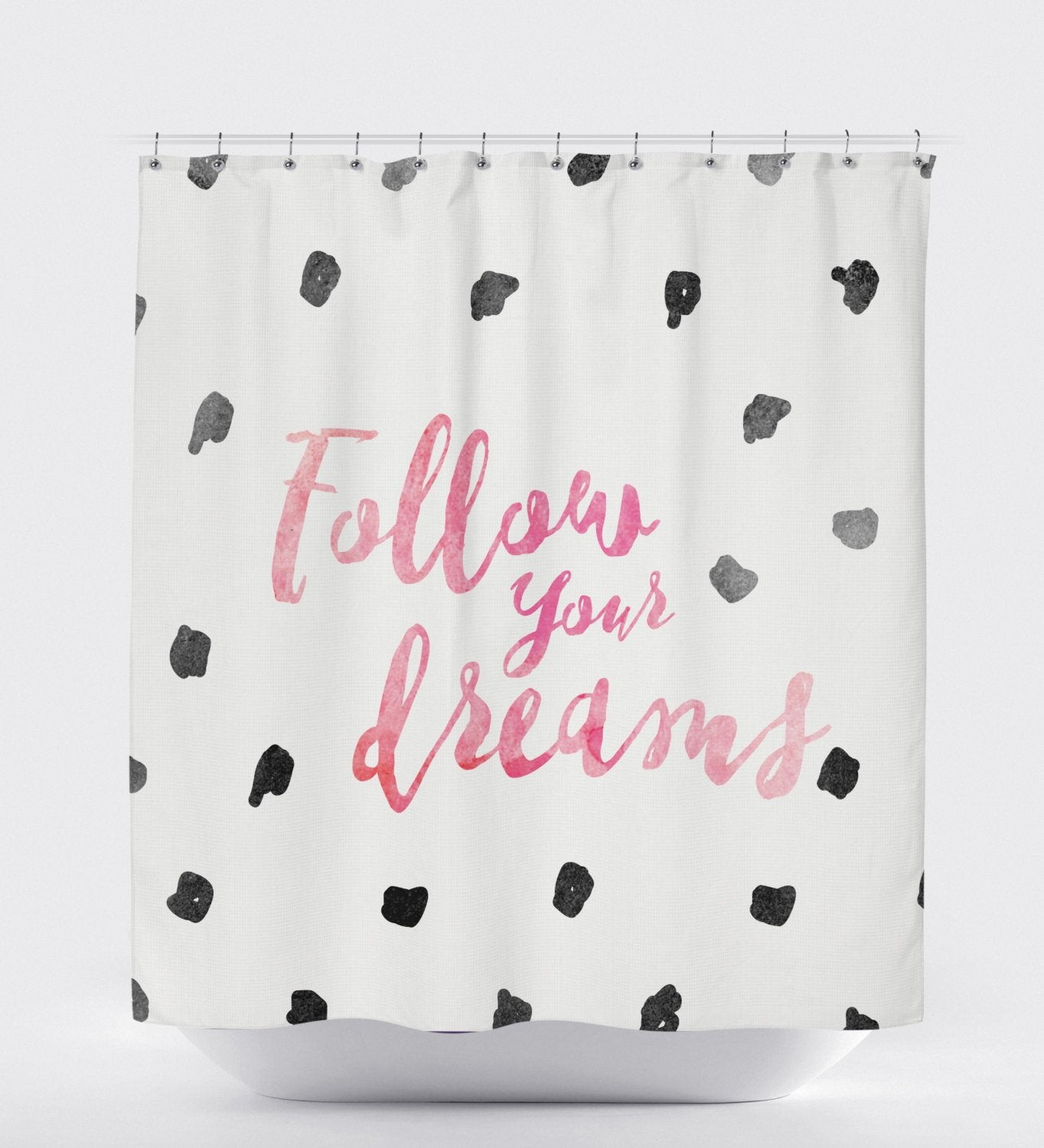 Follow Your Dreams, Shower Curtain White, Quote Shower Curtain, Shower Curtain Kids