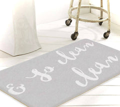 So Fresh And So Clean Clean, Bathroom Rug, Bath Mat With Words, Grey Bathroom Rug