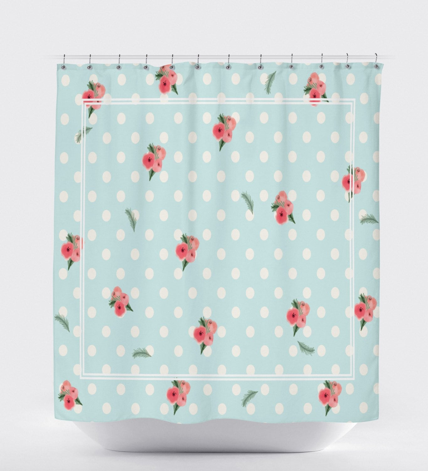 Polka Dot Shower Curtain, Floral Shower Curtain, Pattern Shower Curtain, Bathroom Accessories