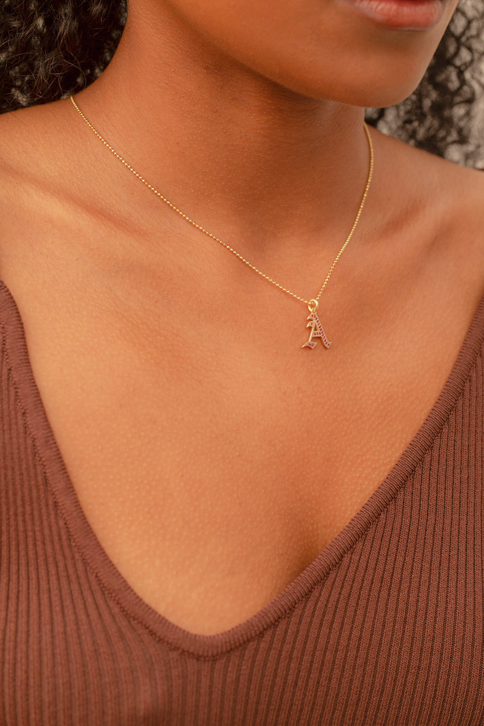 Ruby Initial Necklace
