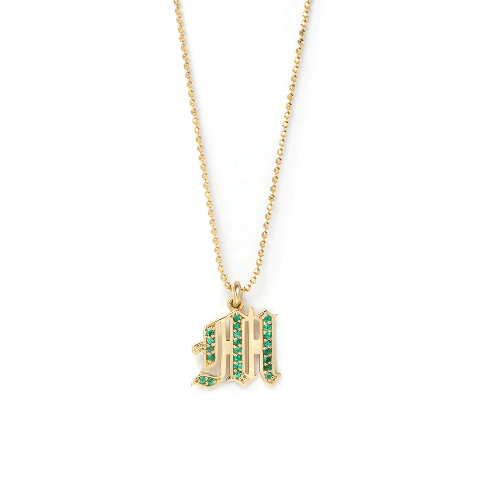 Emerald Initial Necklace
