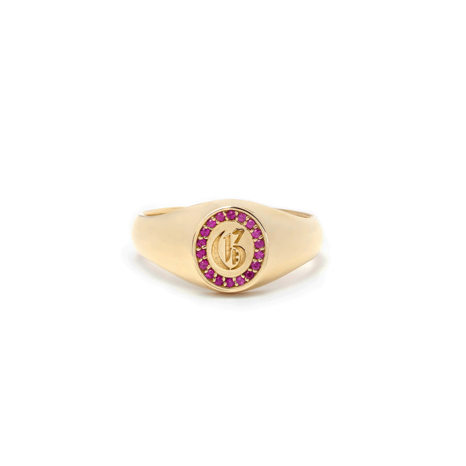 Ruby Initial Signet Ring