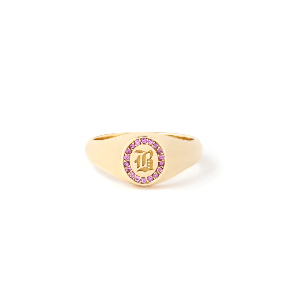 Pink Sapphire Initial Signet Ring